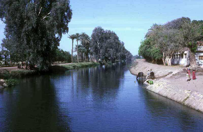 The Joseph Canal (Bahr Yusef) in Egypt runs parallel to the Nile River