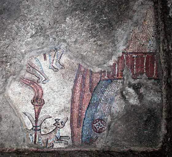 partially preserved Samson and the foxes mosaic. (Photo: Jim Haberman, U. North Carolina at Chapel Hill)