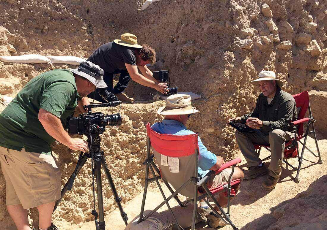 Tim Mahoney interviewing Dr. Scott Stripling at the Shiloh excavation site in Israel