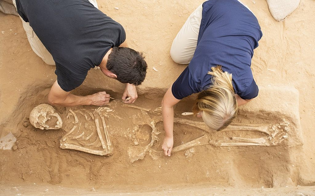 Archeologists uncover a Skeleton at Philistine Cemetery at Ashkelon