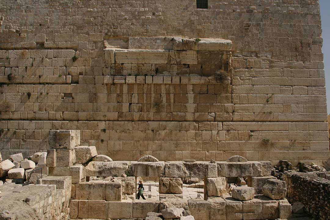 The remains of Robinson's Arch at the Western Wall in Jerusalem as they look today.