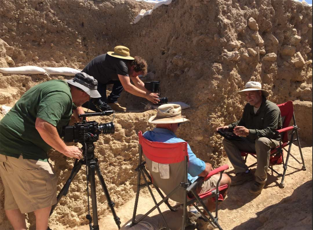 Director Tim Mahoney and professor of biblical archaeology Dr. Scott Stripling at the Shiloh excavation site in Israel.