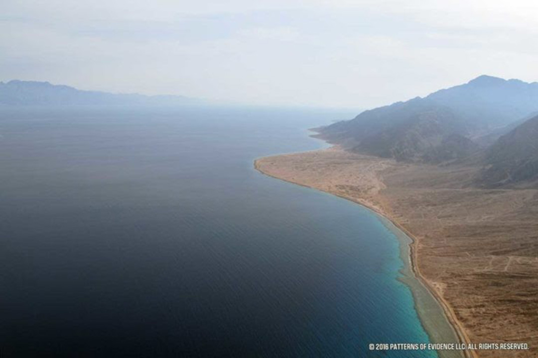 Aerial view of the Gulf of Aqaba where many believe Moses and the Israelites crossed the Res Sea.
