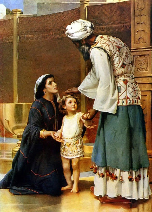 Painting: Samuel Dedicated by Hannah at the Temple by Frank W.W. Topham