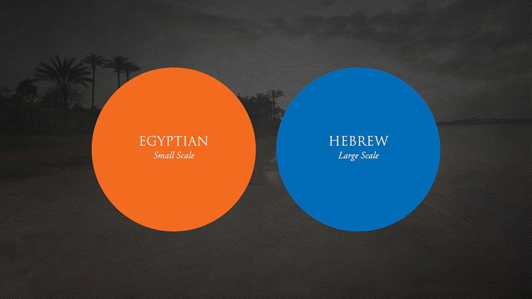 The two main approaches to the Exodus journey: Egyptian (small scale) and Hebrew (large scale)