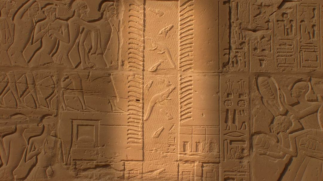 Closeup of the Seti Relief found on a wall of Karnak Temple in Luxor, Egypt