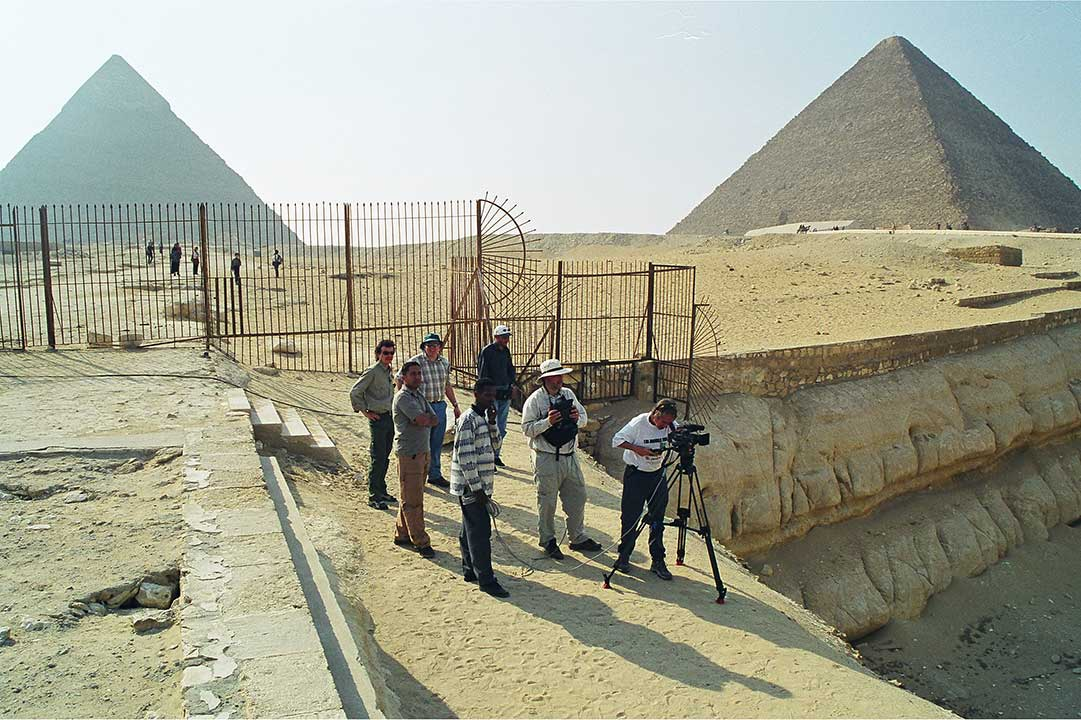 Filmmaker Timothy Mahoney and crew filming on the Giza Plateau near Cairo, Egypt