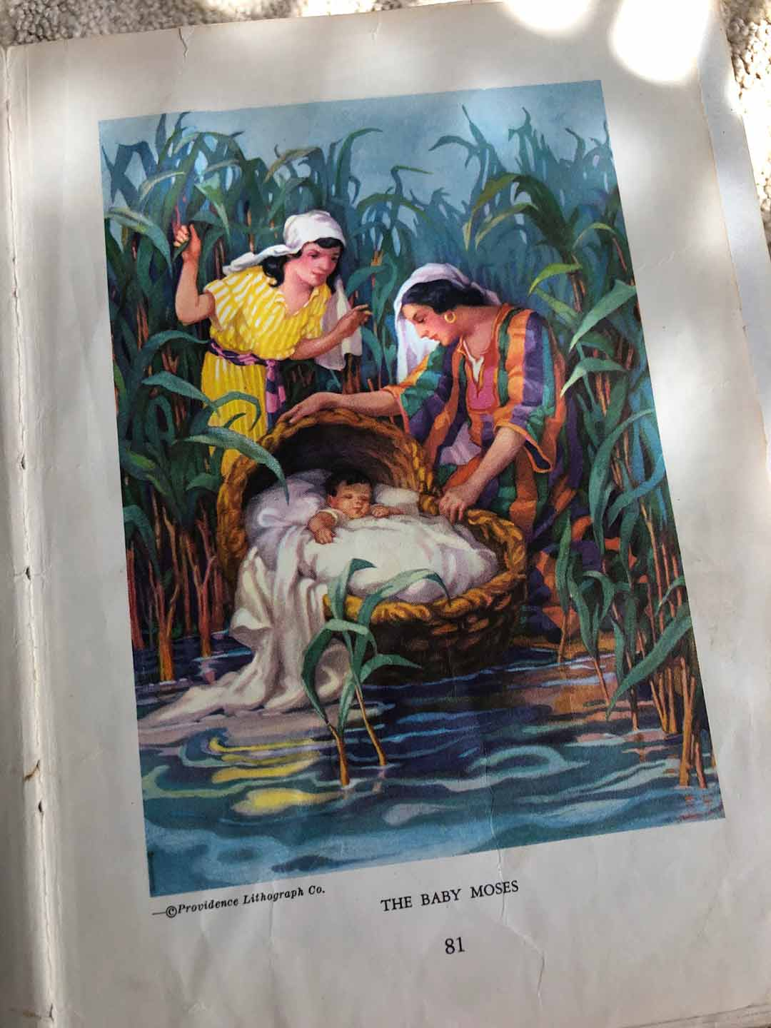 Egermeier's Bible Story Book illustration of the Baby Moses.