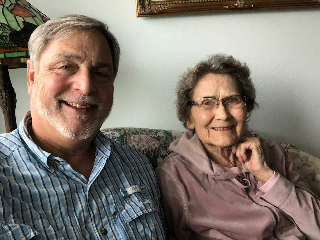 Filmmaker Tim Mahoney with his mother Ethel Mahoney in the Fall of 2019