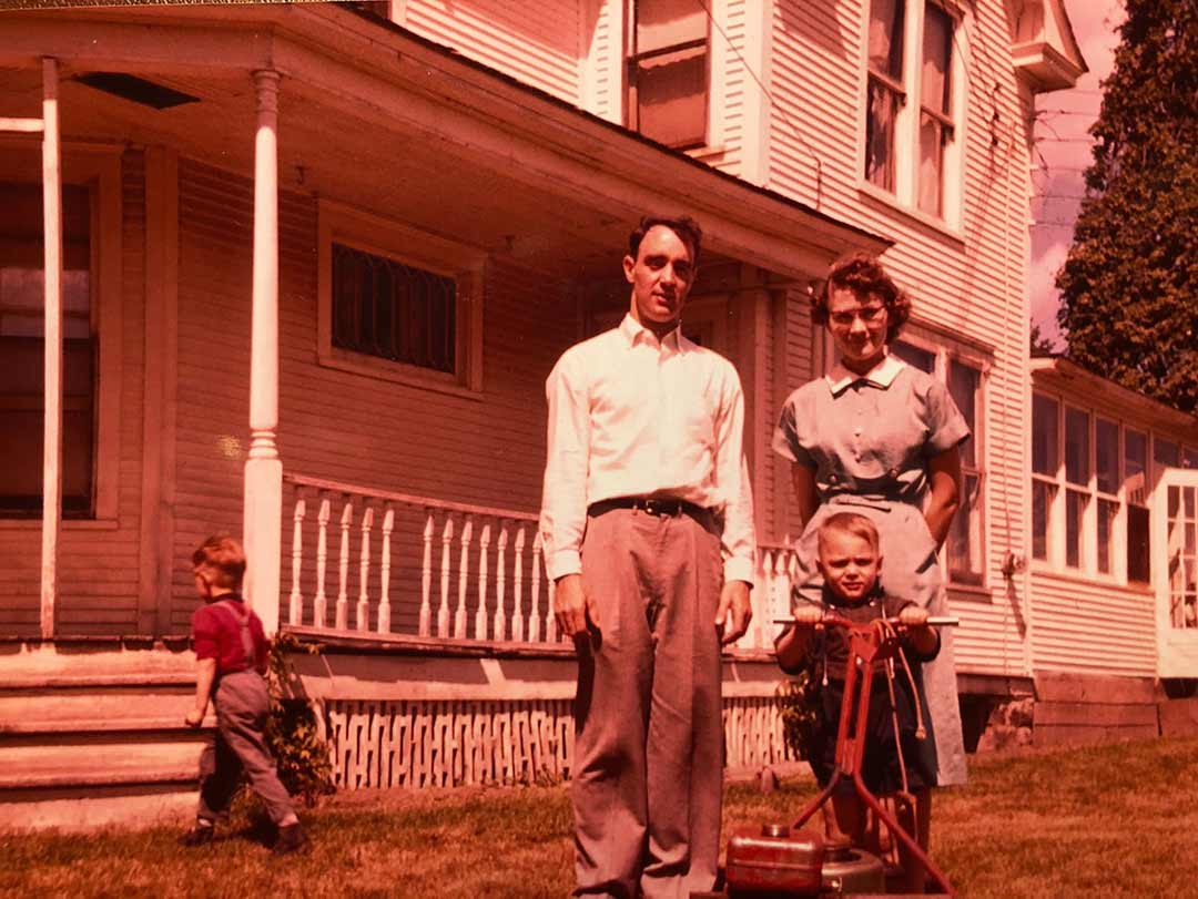 Filmmaker Tim Mahoney as a child with his parents on their family farm in Wisconsin