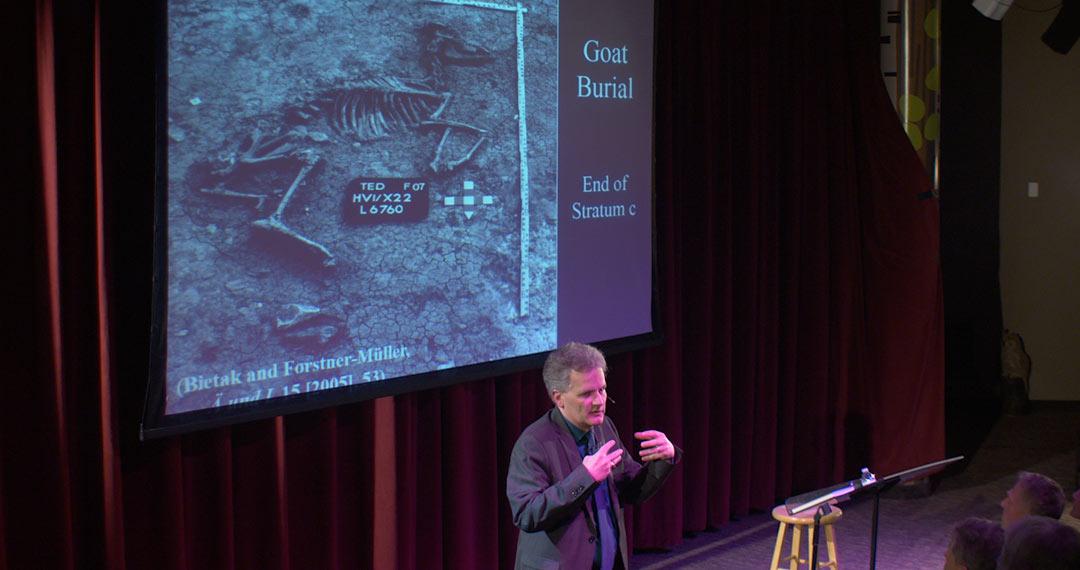 Dr. Douglas Petrovich explaining evidence of goat burials at Avaris.