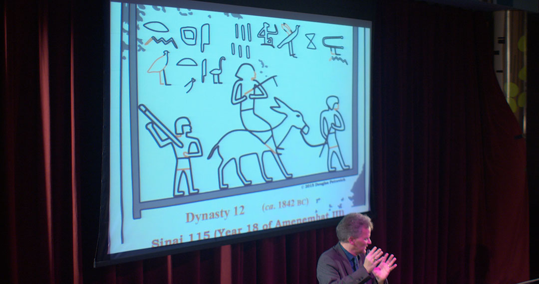 """Dr. Petrovich shows inscription containing the phrase he interprets as """"6 Levantines, Hebrews of Bethel, the beloved."""""""