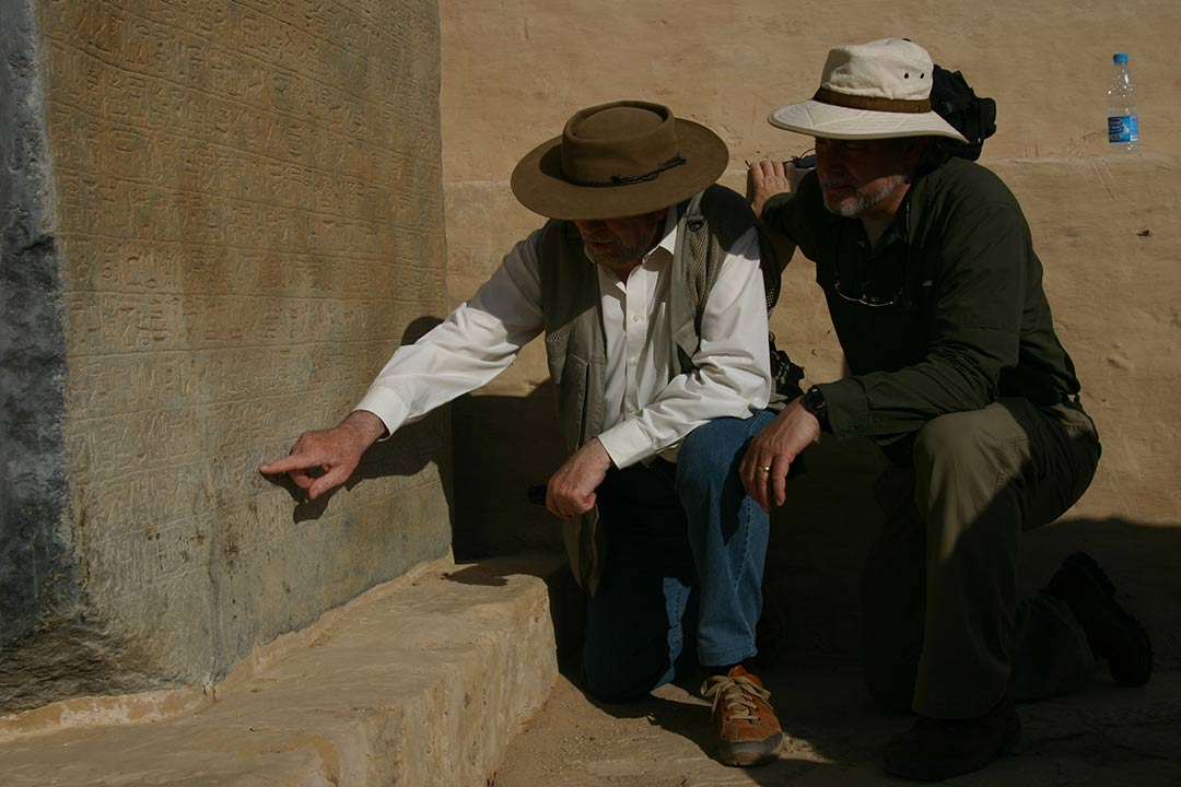 """Egyptologist David Rohl points out the name """"Israel"""" to filmmaker Timothy Mahoney in Patterns of Evidence: The Exodus"""