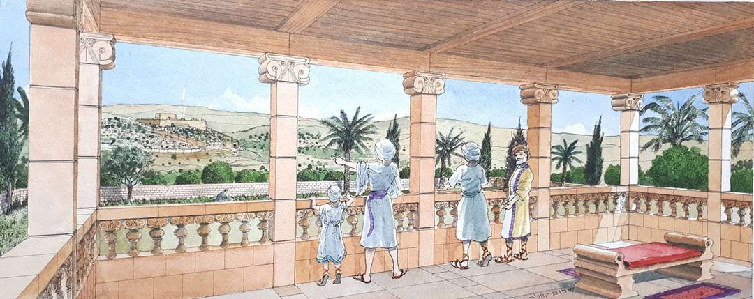 Illustration of the royal estate balcony showing the capitals and ornate balusters