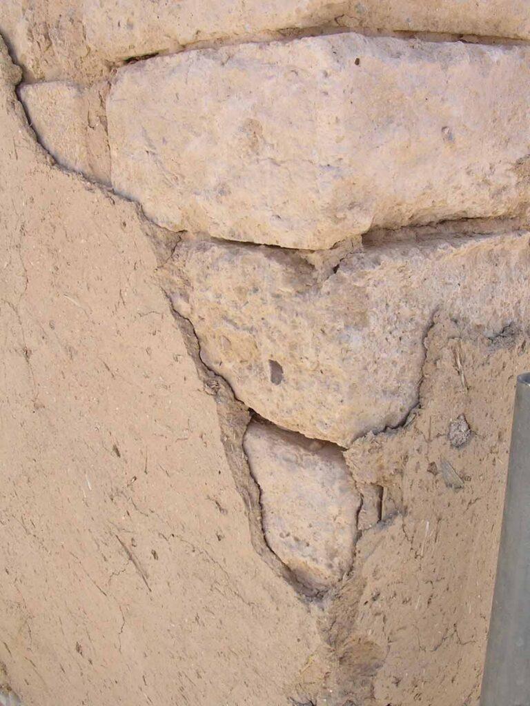 Mud plaster layer over mud bricks at Beer-sheba in Israel.