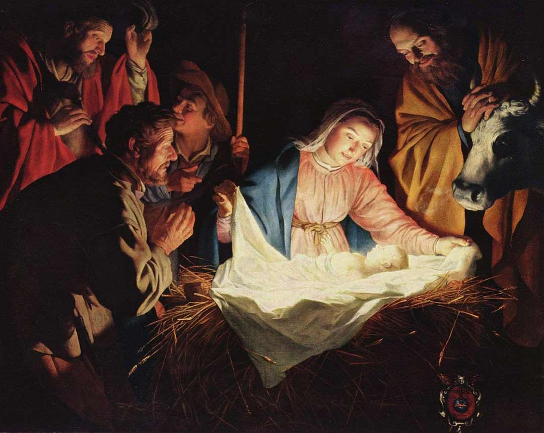 Painting: The Adoration of the Shepherds by Gerard van Honthorst