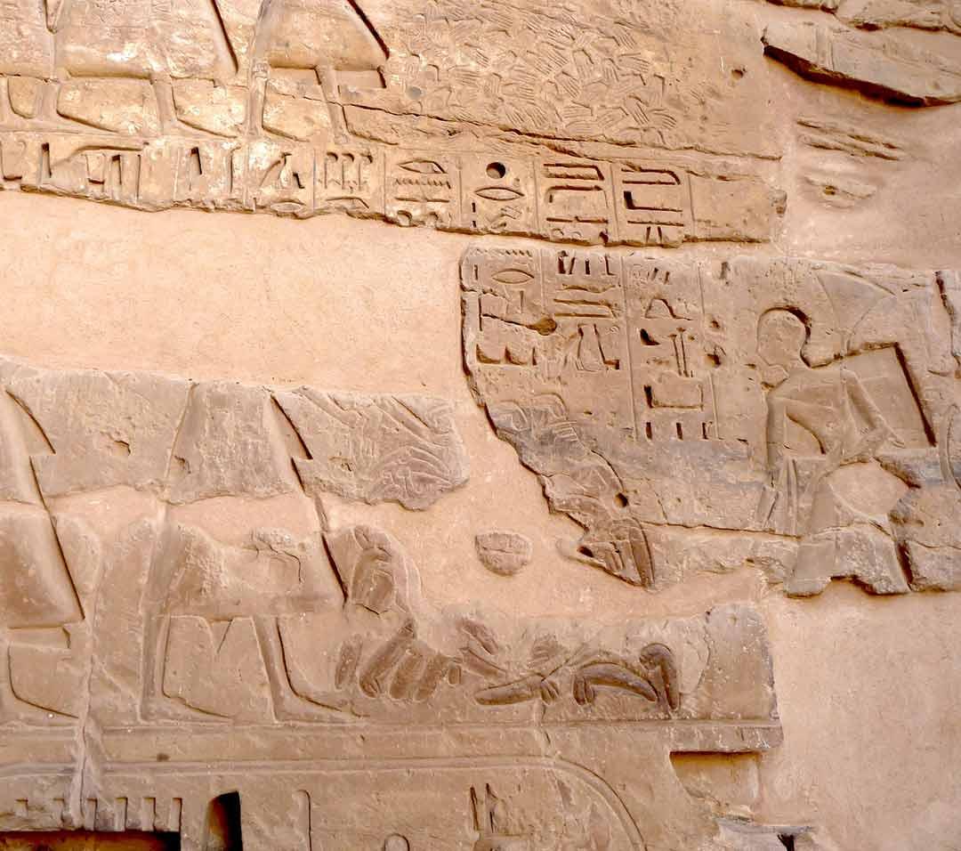 The walls of Medinet Habu depicting Egyptians counting phalluses
