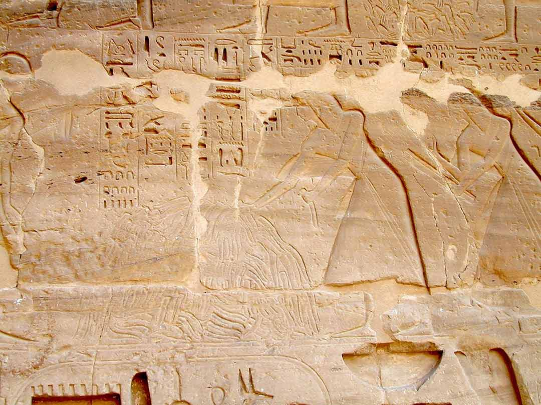 Walls of the mortuary temple of Ramesses III of Egyptians counting the tongues of defeated enemies