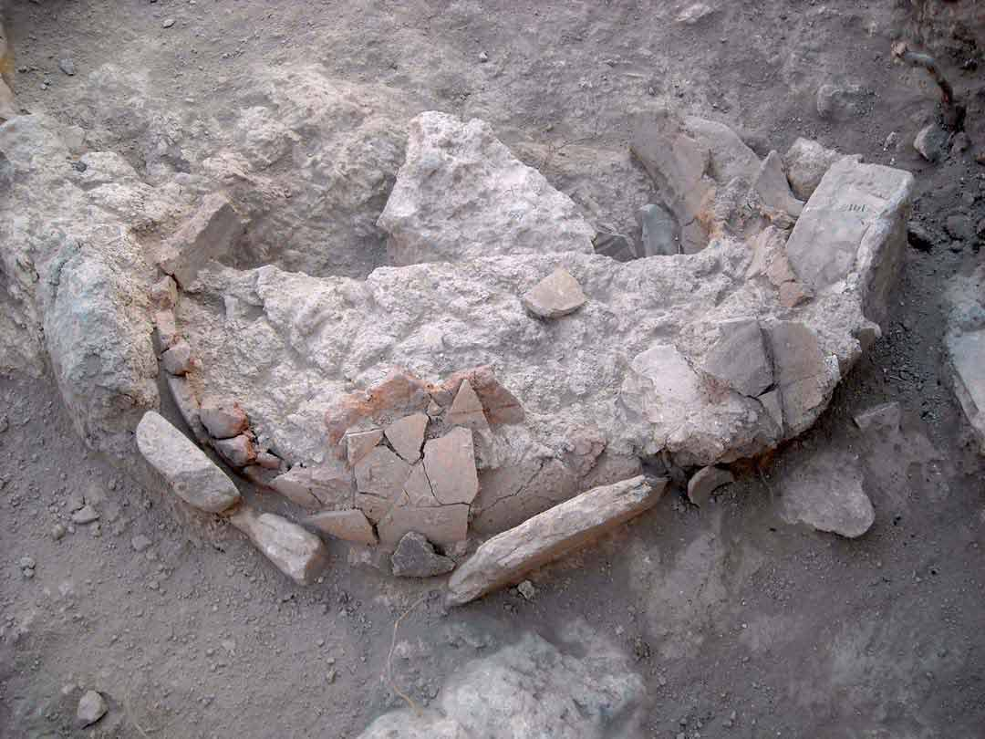 Ancient oven lined with broken sherds discovered at Beth-Shemesh, Israel