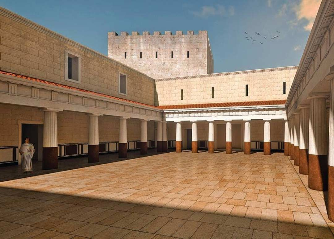 Architectural rendering of the courtyard at Machaerus
