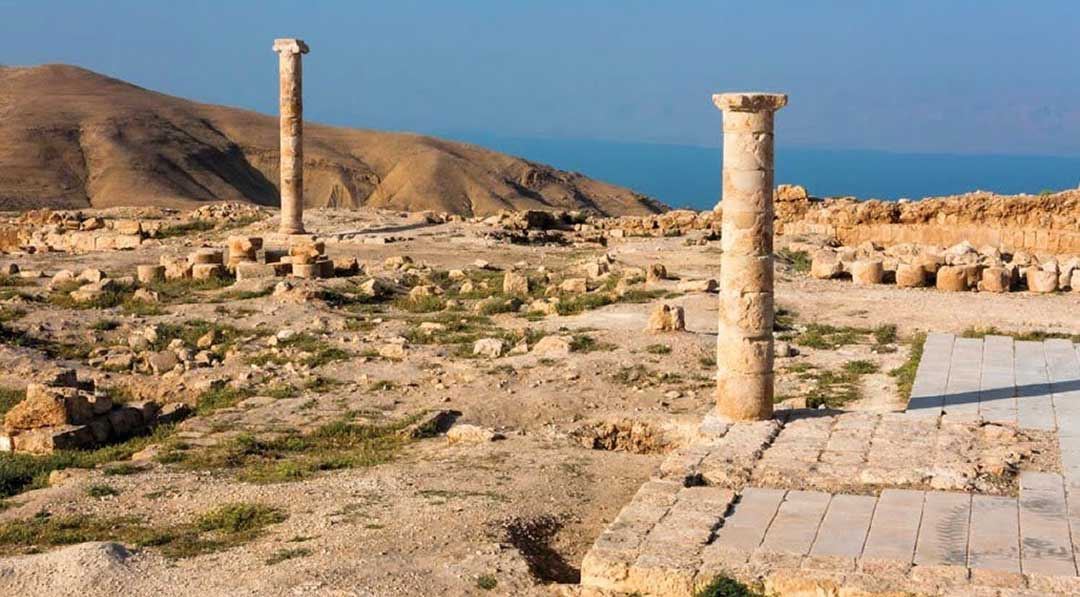 Columns at Machaerus with the Dead Sea in the background