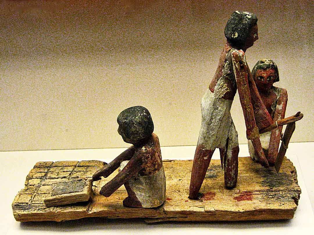 Egyptian model depicting ancient mud brick making on display in British Museum
