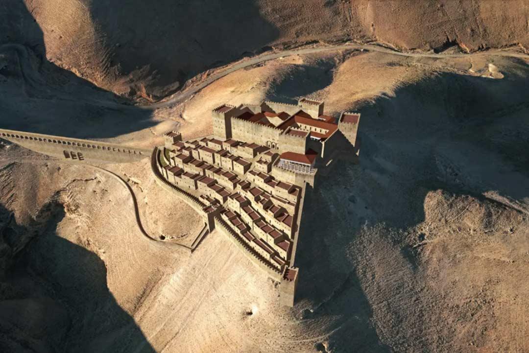 An illustration of Machaerus city on the modern landscape