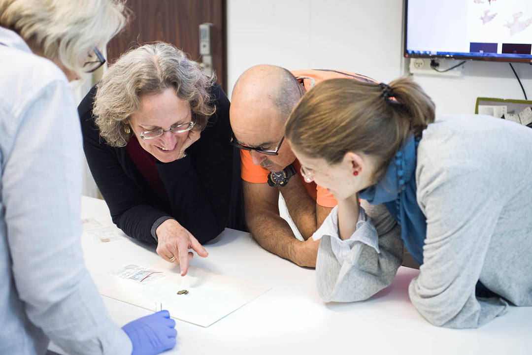 Examining a new scroll fragment at the IAA lab