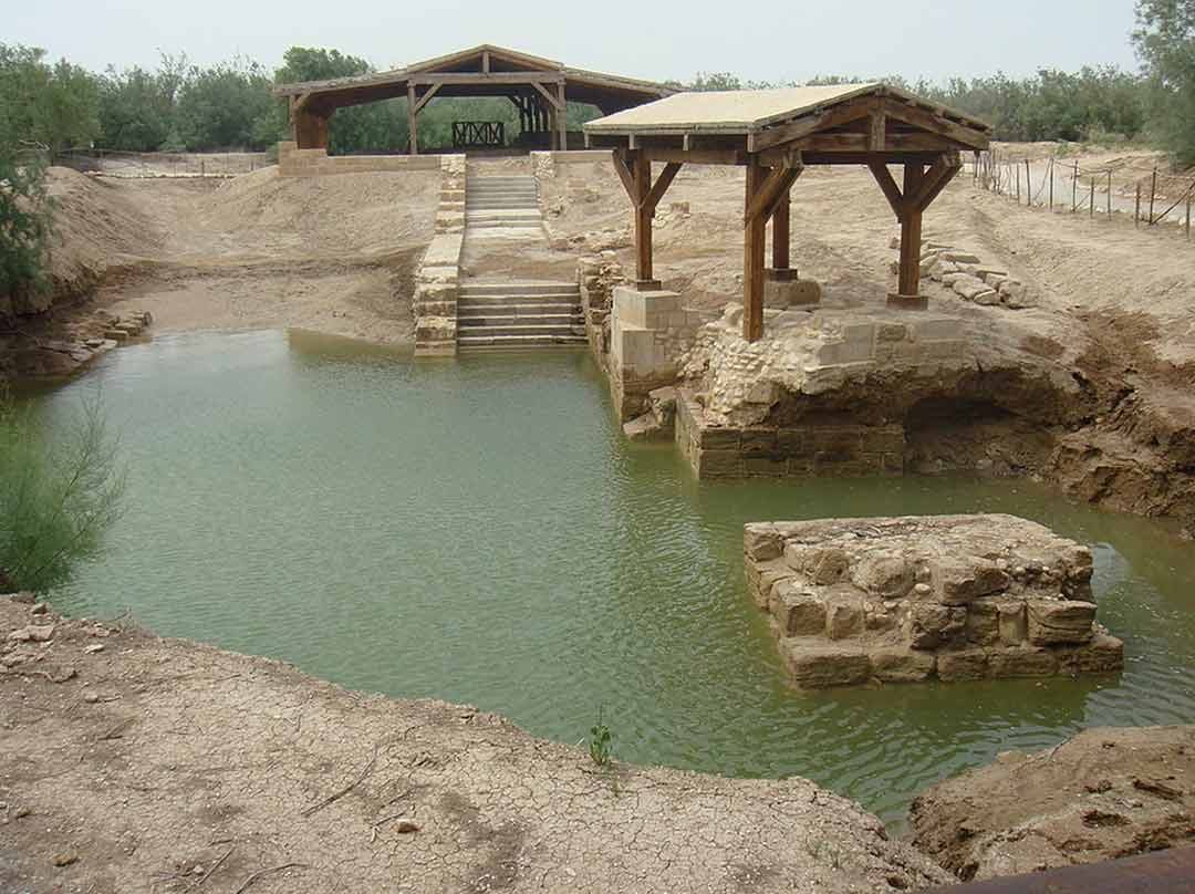 The Al Maghtas Baptism site, on the banks of the Jordan River, at high water.