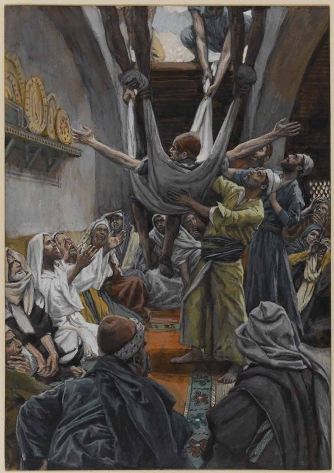 Painting: The Palsied Man Let Down Through the Roof, James J. Tissot