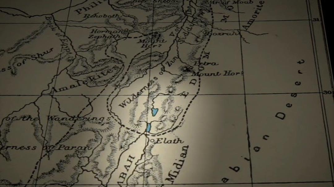 1896 map showing two lakes at the head of the Gulf of Aqaba