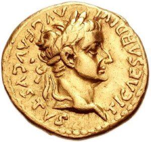Front side of a Tiberian denarius with a raised image of Tiberius Caesar