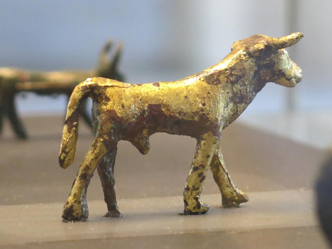 Golden calf idol on display in the Louvre