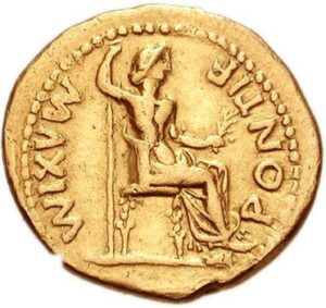 Back side of a Tiberian denarius with  Livia Aureus as Pax personified