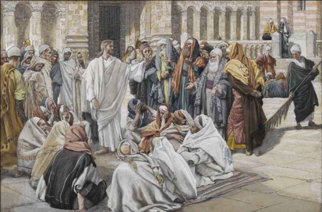 Painting: The Pharisees Question Jesus by James Tissot